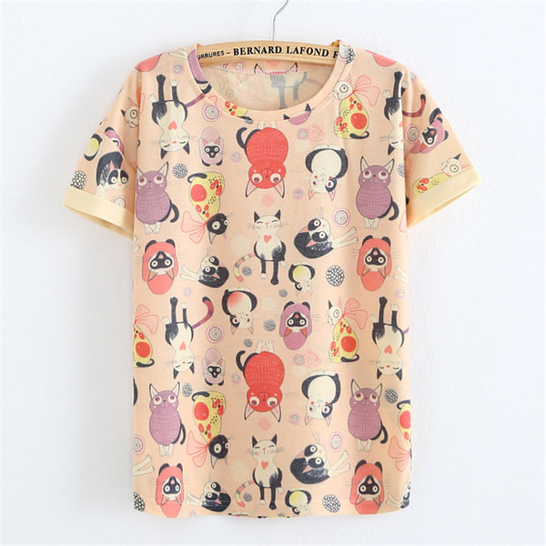 Cartoon Cat Harajuku Print Women T-shirt