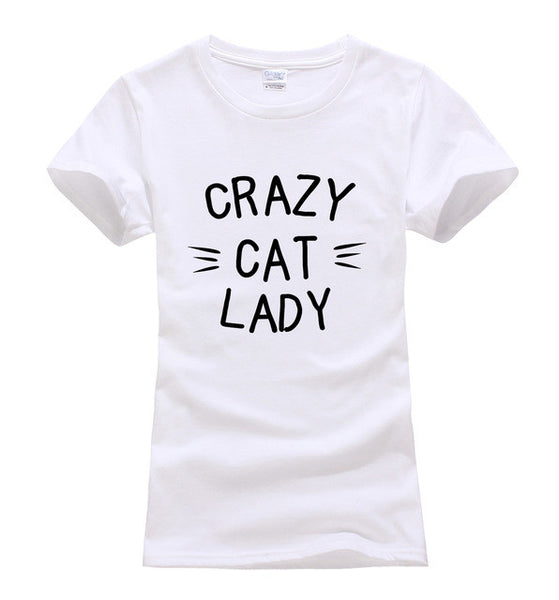 CRAZY CAT LADY Printed  T-shirts