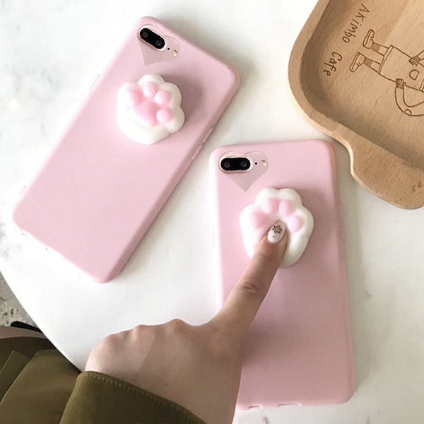 Cute Squishy Cat Claw Case for iPhone 6 6S 7 Plus - kawaiimoristore