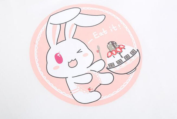 Lovely  Cartoon Rabbit Strawberry Print Tee Top KW1812161