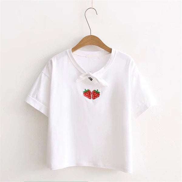 Strawberry Embroidery T-shirt Bow-knot  Short Sleeves T-shirt