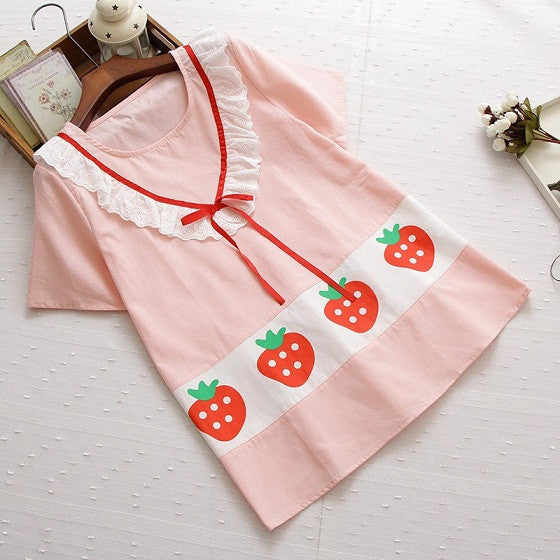 Sweet Strawberry Print Lace Patchwork Short Sleeve T-shirt