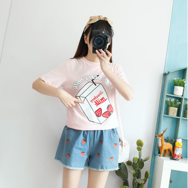 Pink Strawberry Milk Printed Ladies T-shirts K13934
