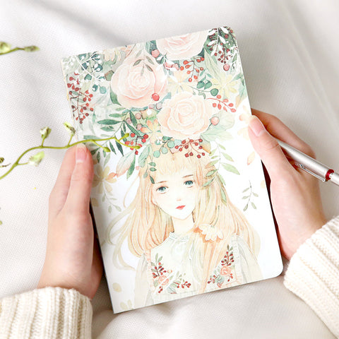 Cute Beautiful Girl Floral Flower Notebook