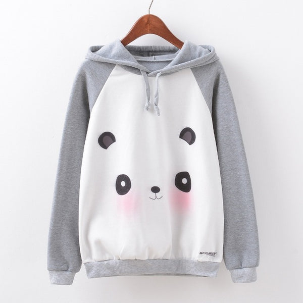 Panda Print Long Sleeve Hooded  Jumper