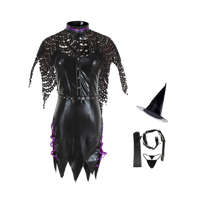 Black Latex Clothing Role Playing Devil Witch Cosplay Costume