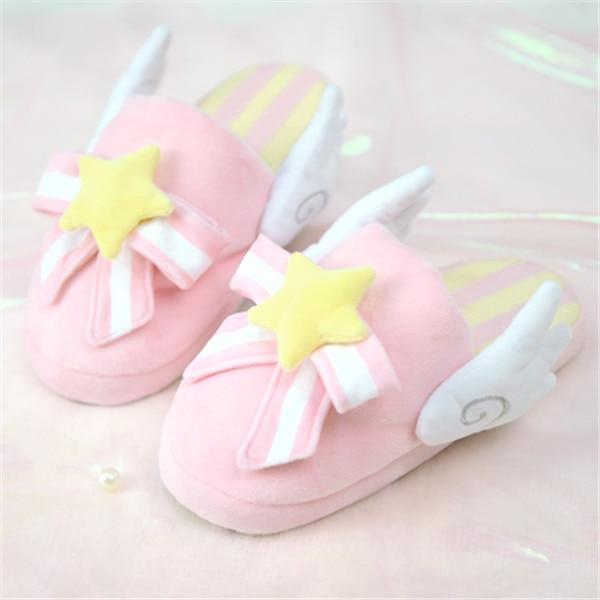 Pink Cute Card Captor Sakura Kinomoto Sakura Cosplay Fluffy Slippers K15416 - kawaiimoristore