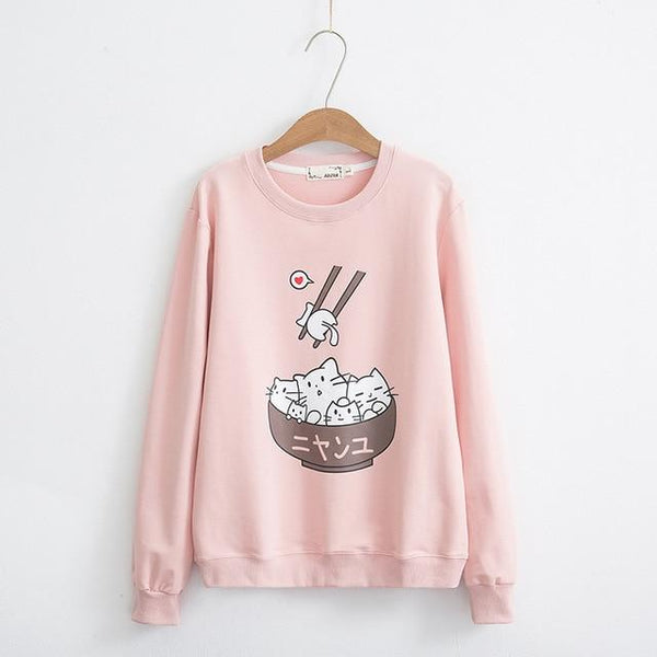 Cute Cats Pattern Printed Hoodie Sweatshirt K12950