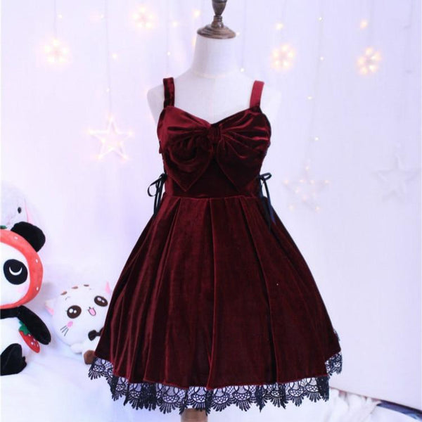 Vintage Gothic Wine Red/Black Suspender Winter Velvet Lolita Dress K13088