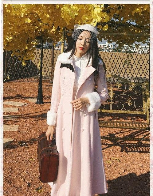 Light Pink Sweet Winter Woolen Double Breasted Maxi Long Dress Coat K13263