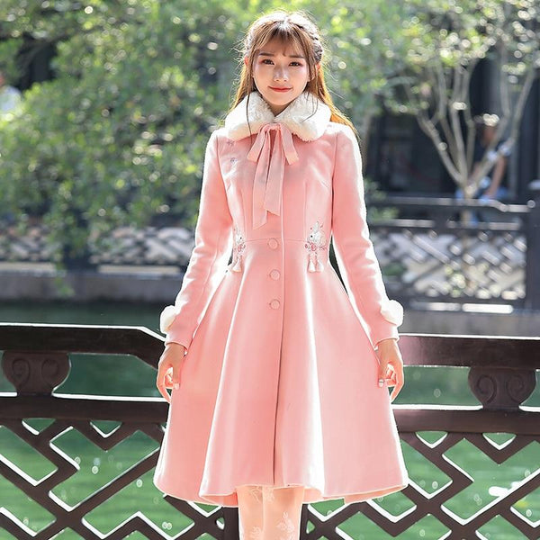 Pink Vintage Retro Sweet Embroidery Faux Fur Collar Woolen Maxi Dress Coat K13264