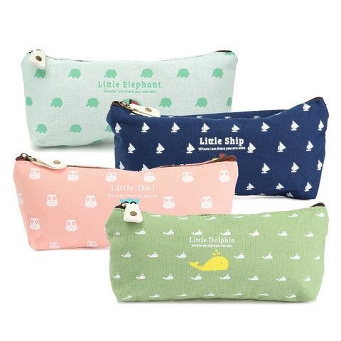 Cute Vintage School Canvas Pencil Case KW153126