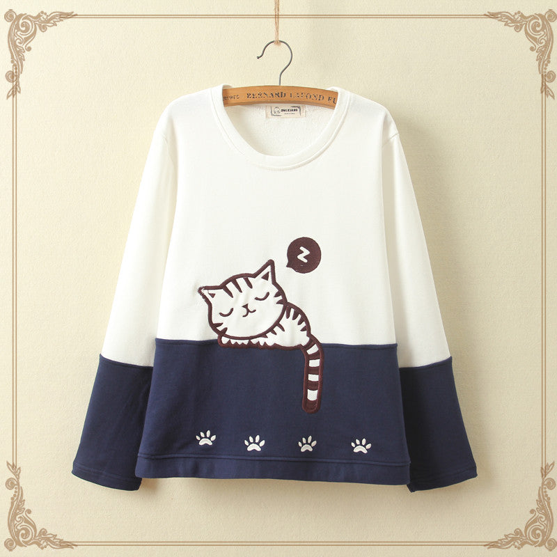 Cute cat thick fleece pullover Jumper Sweater KW1710712