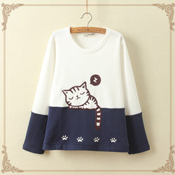 Cute cat thick fleece pullover Jumper Sweater