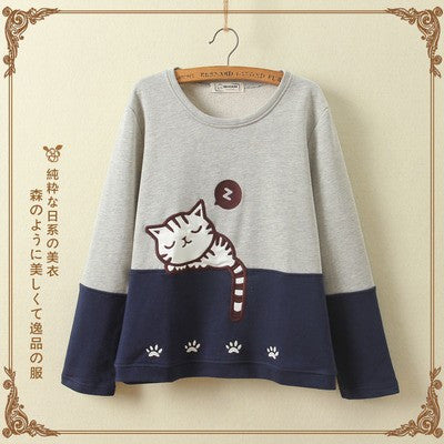 Cute cat thick fleece pullover Jumper Sweater KW1710712 - kawaiimoristore