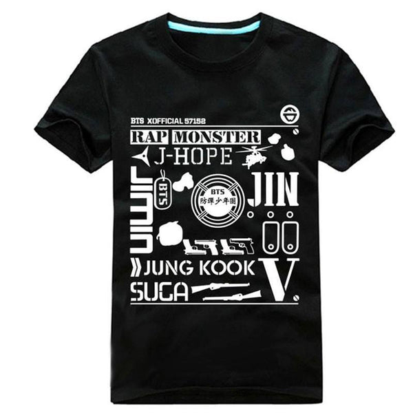 Black/White BTS Hiphop Tee Shirt