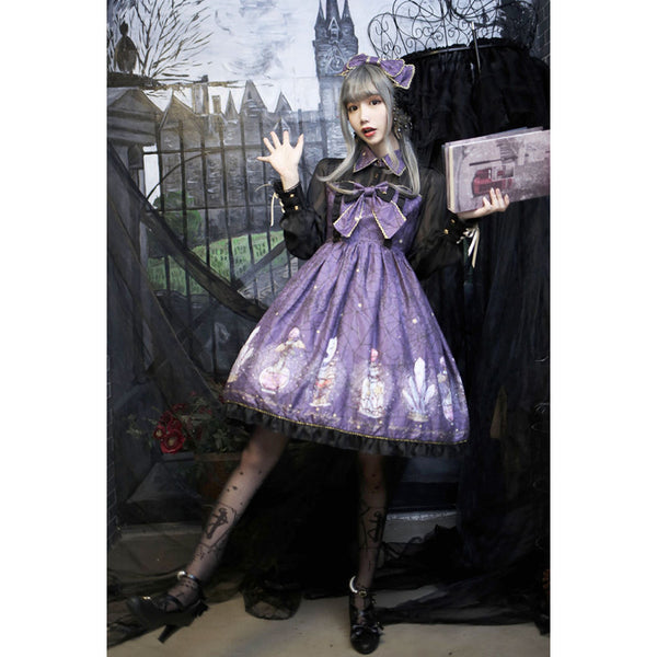 Purple/Gray/Black Hallowmas Magic Collar Lolita Dress
