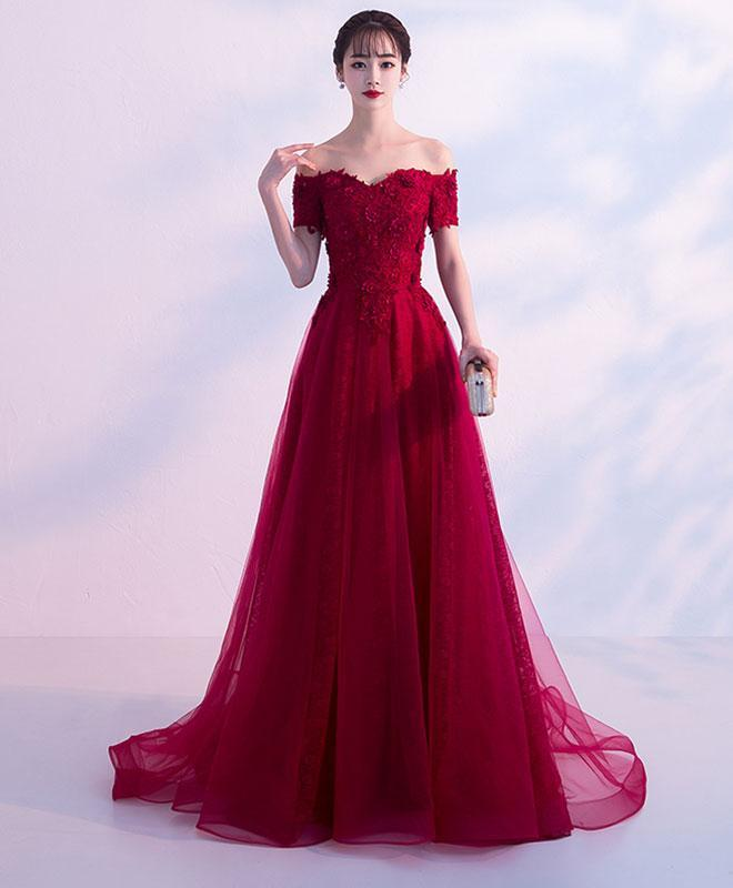 Burgundy Tulle Lace Off Shoulder Long Prom Dress, Evening Dress - DelaFur Wholesale