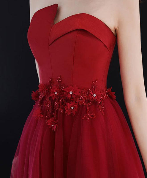 Burgundy Round Neck Tulle Long Prom Dress, Lace Evening Dress - DelaFur Wholesale