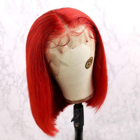 Red Short Bob Human Hair Lace Front Wig Colored by 613 Hair Full End Free Parting AL155