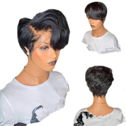 Short Bob Human Hair Full Lace Wig 150 Density Free Part Hot Season