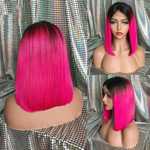Short Bob Human Hair Lace Front Wig Colored by 613 Hair Full End Leaves Me Message About Color