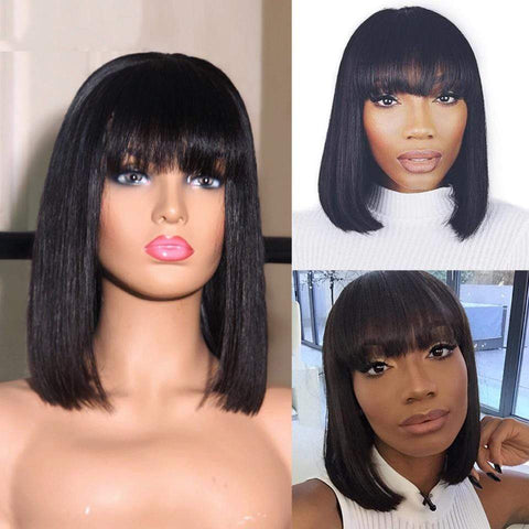 Short Bob Lace Front Human Hair Wigs With Bangs Full End Bob For Women