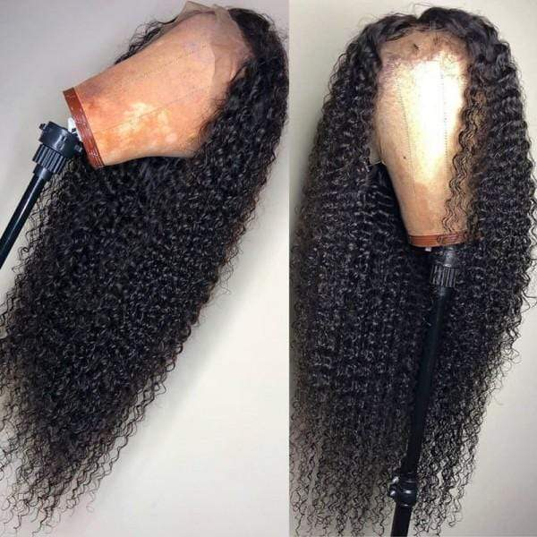 Curly Glueless Full Lace Human Hair Wigs 360 Lace Frontal Wig Human Hair Free Part Natural Color