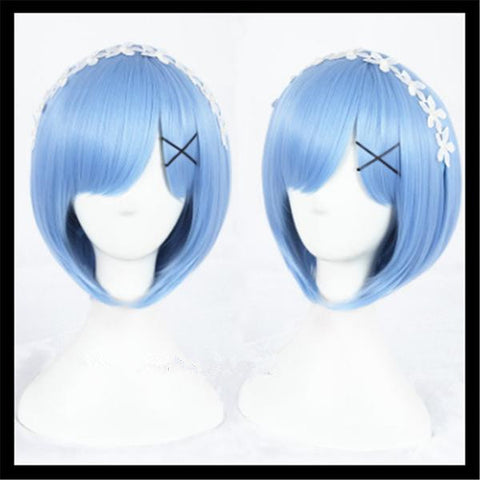 30cm Anime Cosplay Re:Life in a different world from zero Rem Ram Cosplay Wigs - kawaiimoristore