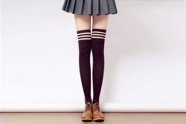 [3 for 2] Taller Girls! 8 Colors Stripes Thigh High Long Socks SP153727 - SpreePicky  - 9