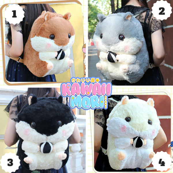 4 Colors Kawaii Hamster Plush Backpack KW164963