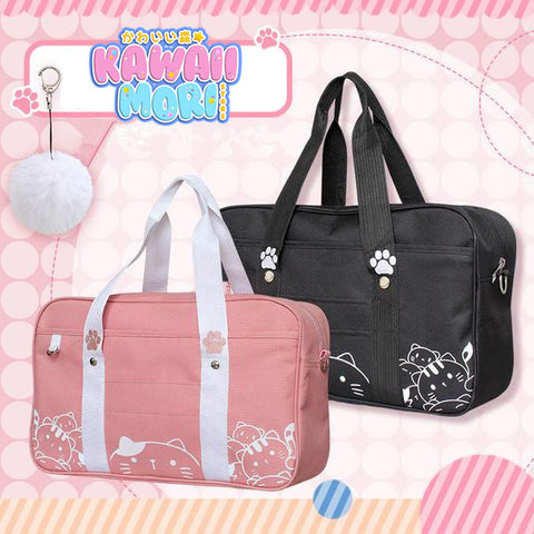 Black/Pink Kawaii Cat Canvas Bag KW1812487 - kawaiimoristore