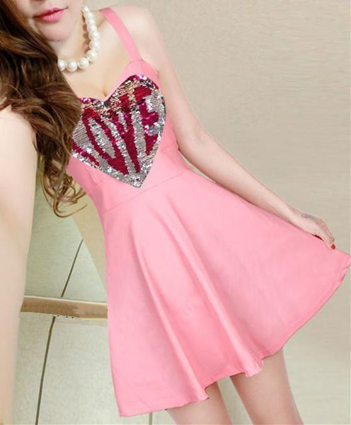 7 Colors Sweet Sparkling LOVE Dress KW1812268