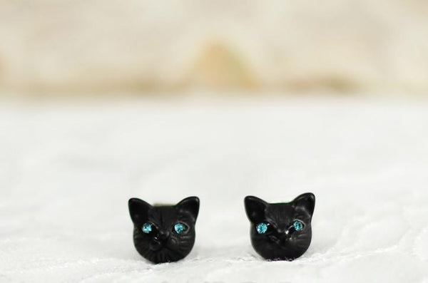 Black/Gold/Silver Cutie Cat Earrings SP153287 - SpreePicky  - 5