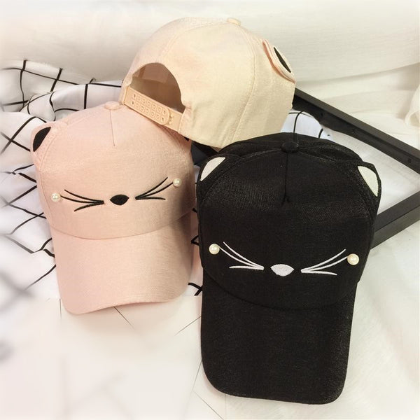 Black/Pink Kawaii Cat Baseball Cap