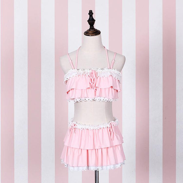 Black/Pink Kawaii Two-Piece Bikini Set KW179743