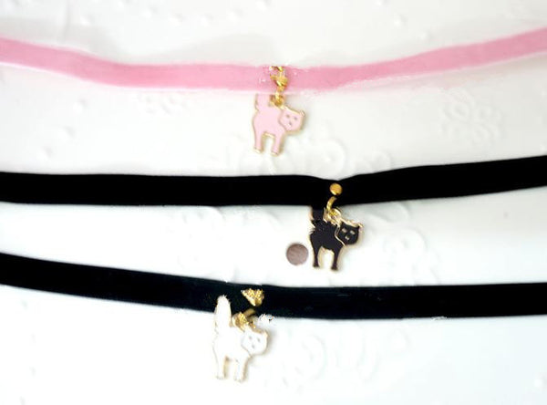 Black/White/Pink Lolita Lovely Kitty Cat Choker For Girls SP164992 - SpreePicky  - 4