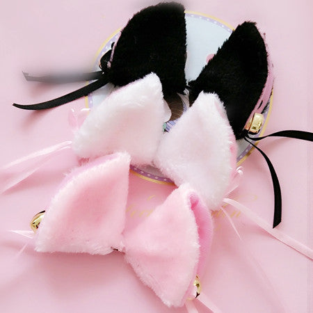[Black/White] Cosplay Kitten Neko Cat Ears with Little Bell Hair Clip KW140499 - kawaiimoristore