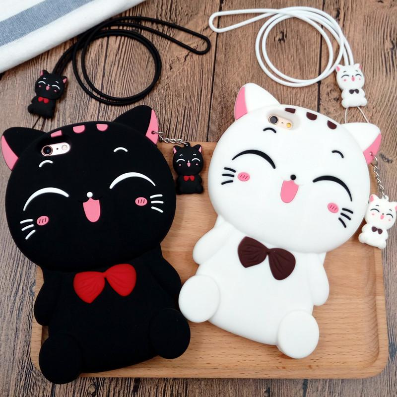 Black/White Kawaii Neko Cat Phone Case KW168219