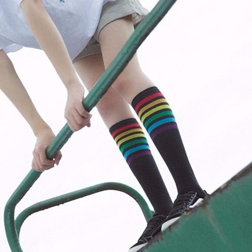 Black/White Kawaii Rainbow Preppy Style Socks KW1812639