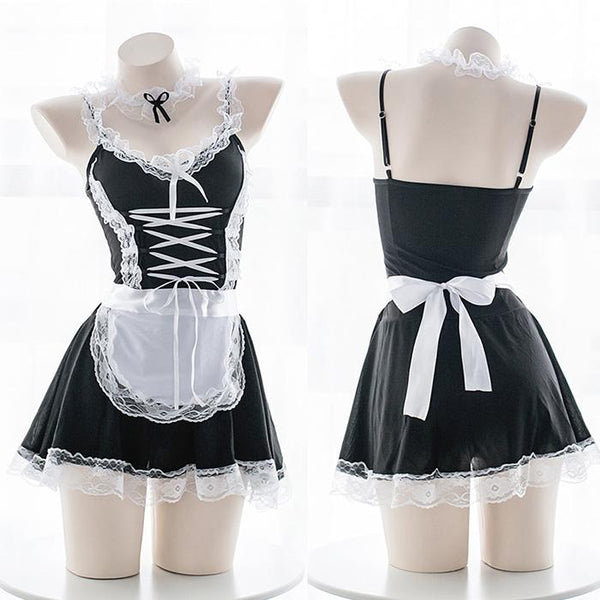 Black/White Lace Maid Cosplay Uniform Dress K12679