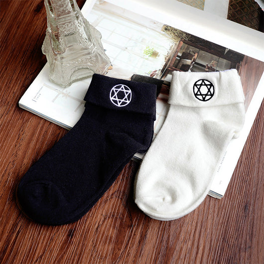Black/White Pentagram Star Socks KW178953