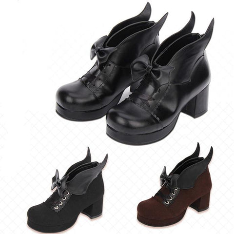 Black/Brown Elegant Bow Wing Lolita Boots KW1710661
