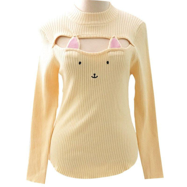 Cute Sexy Neko Cat Ears Embroidery Open Chest High Collar Bottoming Sweater KW154123