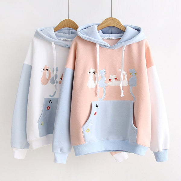 Cute Kawaii Cat Embroidery Hoodie Pullover KW1710563
