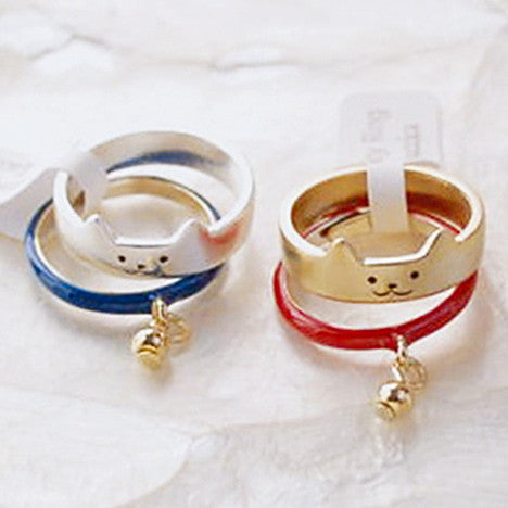 Golden/Silver Cutie Kitty Cat Bell Ring KW153289