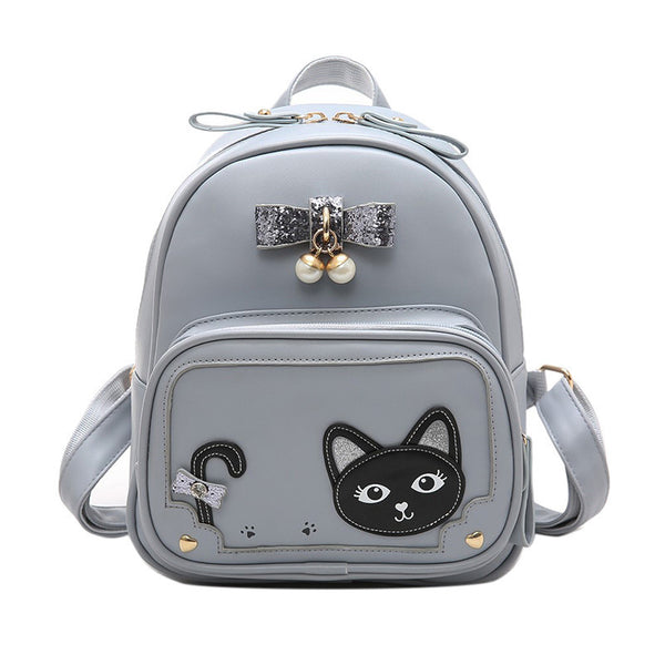 Grey/Black/Pink Kawaii Kitty Bowknot Backpack KW1710053