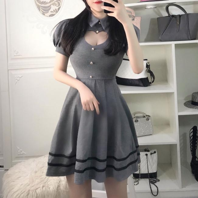 Grey/Red/Black Sweet Heart Hollow Out Short Sleeve Dress K12658