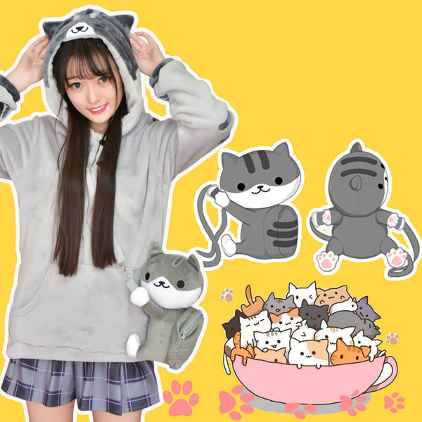 Grey Neko Atsume Cross-body Bag KW1710050