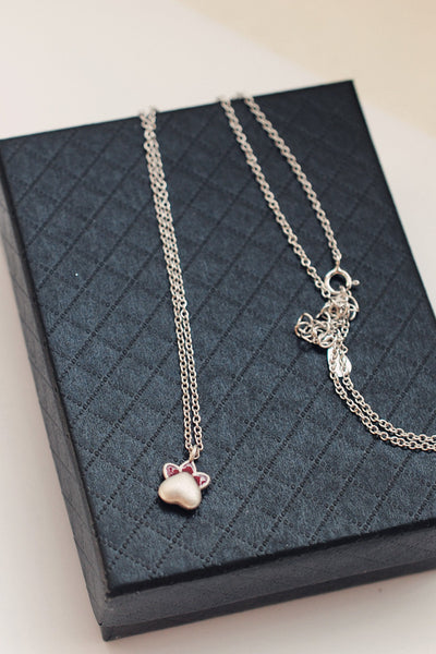 Kawaii Cat Paw Silver Necklace/Ring/Earrings - kawaiimoristore
